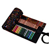 Hillento canvas handmade National Wind happy tree pencil wrap pen color pencil bags hold for 72 colored pencils (pencils are not included),72 Holes