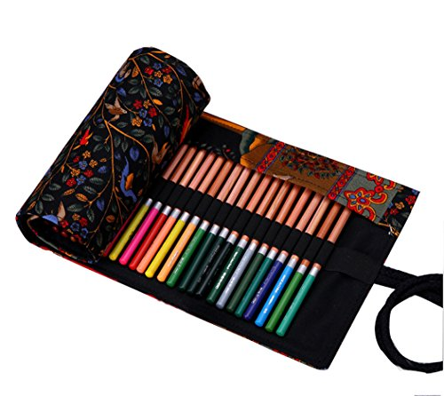 Hillento canvas handmade National Wind happy tree pencil wrap pen color pencil bags hold for 48 colored pencils (pencils are not included),48 Holes