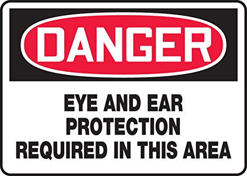 Legend Ear Protection - Accuform MPPE035VA Aluminum Safety Sign, Legend DANGER EYE AND EAR PROTECTION REQUIRED IN THIS AREA, 7