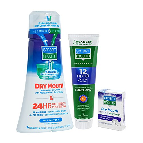 SmartMouth Dry Mouth Activated Rehydrating Oral Rinse, Dry Mouth Relief Mints and Premium Toothpaste for 24 Hour Bad Breath Prevention