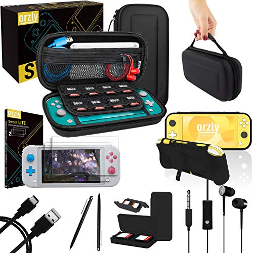 Orzly Switch Lite Accessories Bundle - Case & Screen Protector for Nintendo Switch Lite Console, USB Cable, Games Holder, Comfort Grip Case, Headphones, Thumb-Grip Pack & More (Orzly Gift Pack)