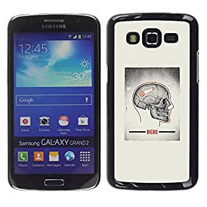 Shell-Star Arte & diseño plástico duro Fundas Cover Cubre Hard Case Cover para Samsung Galaxy Grand 2 II / SM-G7102 / SM-G7105 ( Skull Grey Anatomy Brain Medical )