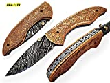 FNA-1173, Custom Handmade Damascus Steel 7.3 Inches Folding Knife – Gorgeous Hand Engraving on Brass Handle For Sale