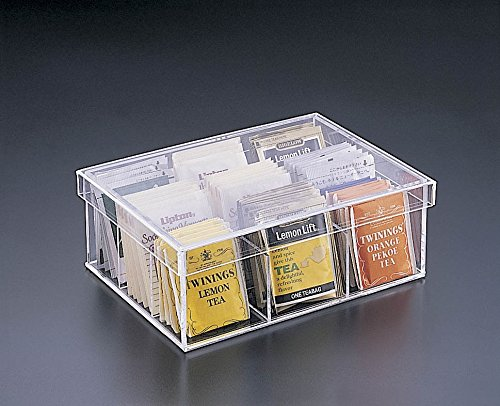 Acrylic Lucite 9 Compartment Tea Bag Box with Removable Lid