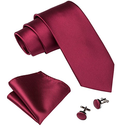 Barry.Wang Burgundy Tie Set for Men Silk Wedding Tie Hanky Cufflinks Chirstmas