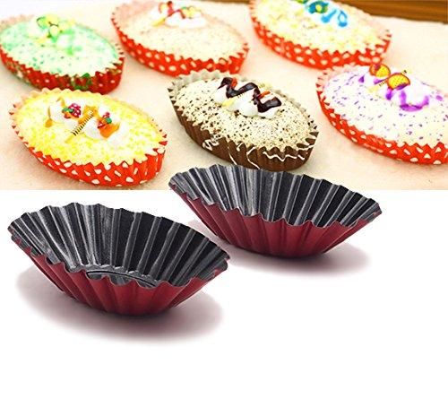 12-picec Fluted Design Oval Shape Tart Mold / Tartlet Tins / Mini Pie pan. Cake mold (Tin Tartlet Fluted)
