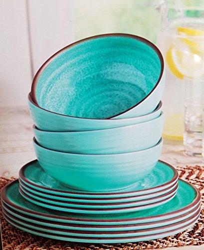 Melamine Dinnerware 12 Piece Set - Turquoise