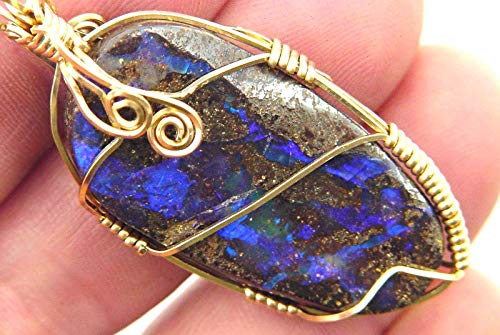Australian Boulder Opal - 14kt Gold Fill Wire Wrapped Natural Australian Boulder Opal Free Form Polished Pendant with GP Chain Necklace tempP h abe