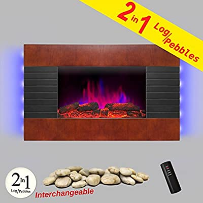 """AKDY 36"""" Wooden Style Wall Mount Tempered Glass Log Pebble 2-in-1 Electric Fireplace Heater Stove 1500W Adjustable Temperature w/ Remote Control"""
