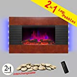 AKDY 36″ Wooden Style Wall Mount Tempered Glass Log Pebble 2-in-1 Electric Fireplace Heater Stove 1500W Adjustable Temperature w/ Remote Control Review