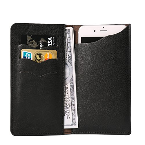 Universal 5.7'' PU Leather Ultra Slim Cellphone Sleeve Wallet Case Holster Pouch Card Holder for Samsung Galaxy Note 8 / S8 Active / S8+ / S8 / Note FE / Apple iPhone 7 Plus (Black) by BaoXinQi (Image #1)