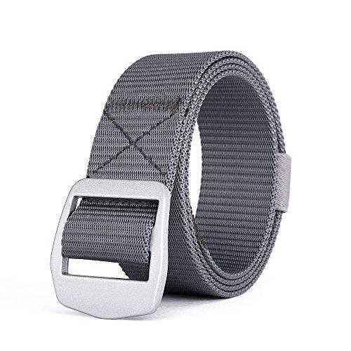 [MIJIU Men's Belt Nylon Webbing Canvas Tactical Duty Waist Strap with Alloy Buckle] (Grey Belt Buckle)