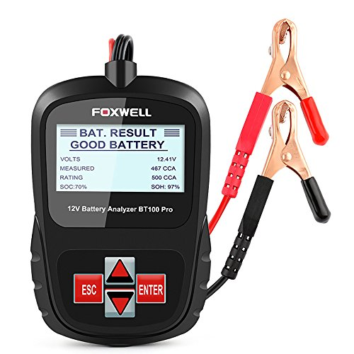 FOXWELL Battery Analyzer BT100 Pro 12V 100-1100 CCA Battery Load Tester Detect regular flooded, AGM Flat Plate, AGM Spiral and GEL Batteries Health Directly