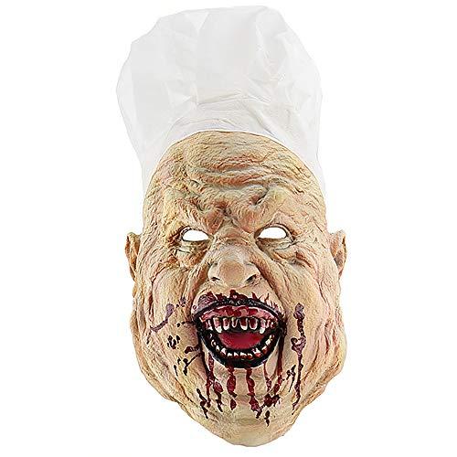 (WOFEIYL Bloody Crazy Chef Halloween Horror Mask Latex Headgear Haunted House Dressing)