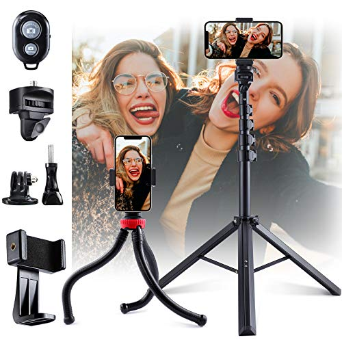 "Phone Tripods, 2 Pack of 62"" Extendable Selfie Stick and Octopus Phone Tripod, Fast and Stable Bluetooth Remote Pair…"