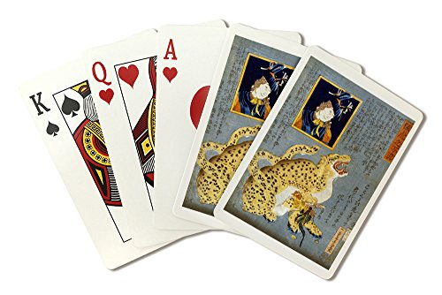 Leopard that has Caught a Rooster Japanese Wood-Cut Print (Playing Card Deck - 52 Card Poker Size with ()