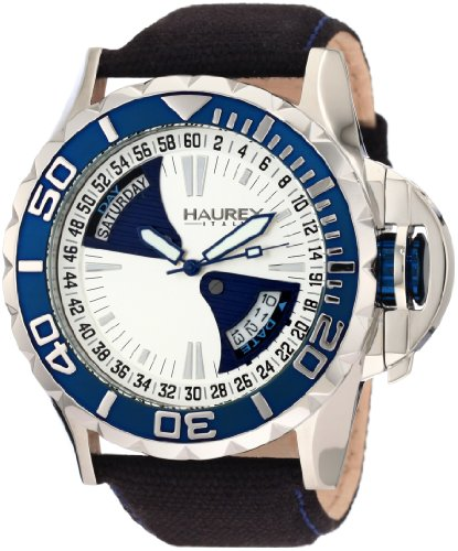 - Haurex Italy Men's 8D365US1 Black Sea Day and Date Canvas Strap Blue PVD Bezel Sport Watch
