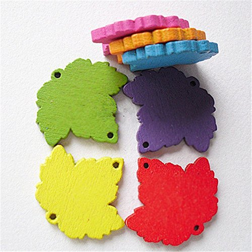 Maple Leaf Button (OZXCHIXU (TM) 100 Pcs 25 x 22mm Maple Leaf Shape Sewing Wooden Buttons , for Kids, Scrapbooking Crafts)