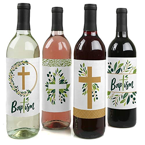 Baptism Elegant Cross - Religious Party Decorations for Women and Men - Wine Bottle Label Stickers - Set of 4