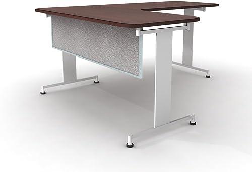 GreenForest Computer Desk Industrial Style Home Office Desk Workstation with Adjustable Side Shelves, Walnut