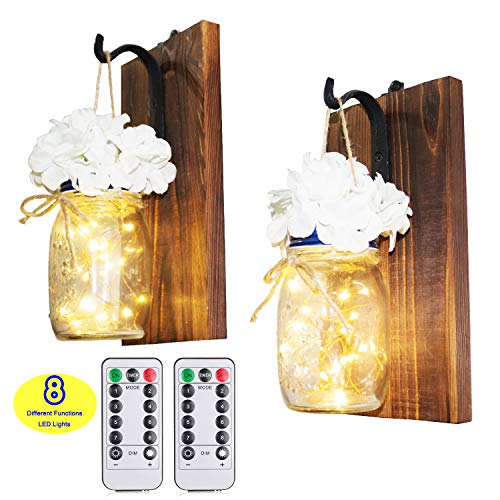 Decor Jar (CALATOUR Mason Jar Decor Wall Sconce,16OZ Mason Jars,20 LED Lights with Remote Control,Wrought Iron Hooks,Wood Boards,Silk Flowers(Set of 2))