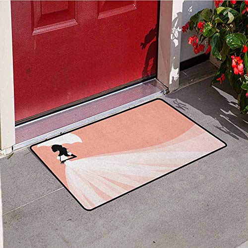 Gloria Johnson Bridal Shower Front Door mat Carpet Bride in Abstract Romantic Wedding Dress with Umbrella Artwork Print Machine Washable Door mat W29.5 x L39.4 Inch Salmon and White