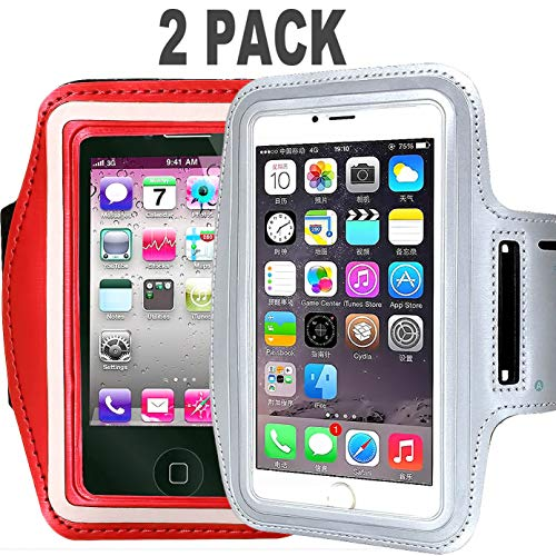 - CaseHQ [2pack] Armband Phone Case for iPhone X 8 7 6 6S Plus, LG G6, Galaxy s9 s8 s7 s6 Edge, Note 8 5 [Water Resistant] Sports Exercise Running Pouch Reflective with Key Holder (Silver+red)