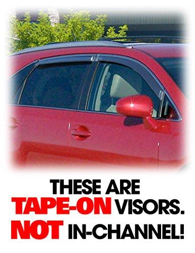 C&C Car Worx Tape-On Outside-Mount WV-09V-TF Set of 4 Side Window Visor Rain Guard Deflectors to fit 2009 10 11 12 13 14 15 Toyota Venza w/12mm chrome molding