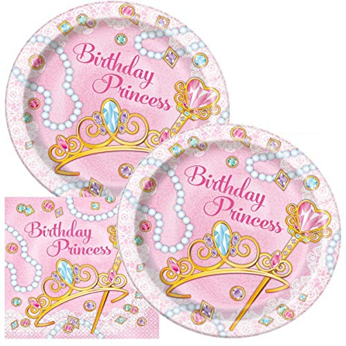 JJ Collections Princess - Includes Paper Plates & Luncheon Napkins Plus 24 Birthday... -