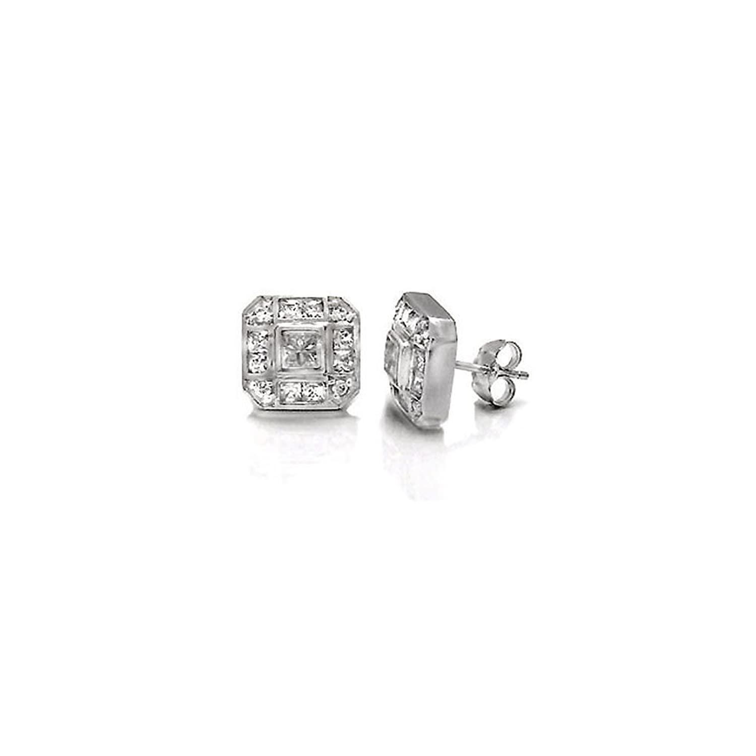 Amazon Sterling Silver Hand Set Cz Square Earrings with Earring