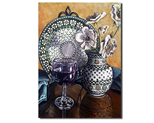 Polish Pottery Vase Wall Art Print Giclee Yellow Kitchen Wine Lover Home Decor, Size Mat Option from Heather Sims Art
