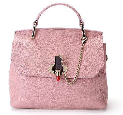 Xinmaoyuan Mujer bolsos de cuero Bolsos de moda Bolso de Hombro platino suave bolsa de cuero Rosa