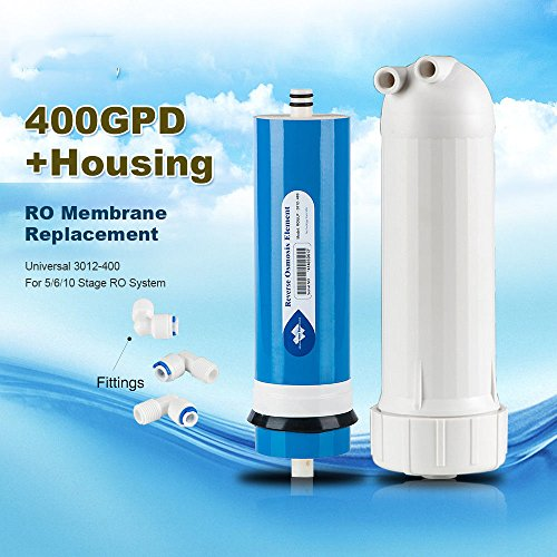 Alberts Filter 200/300/400GPD Reverse Osmosis RO Filter Membrane Element, Water Filter Replacement RO Systems (400 GPD + Housing + 3 Fittings)