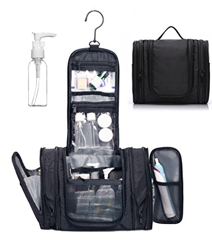 Price comparison product image WANDF Expandable Toiletry Bag Dopp Kit TSA Approved Bottles Water Resistant Nylon, Black
