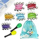 kilofly Musical Toys Rhythm Band Wrist Bells Value Pack, 6 colors [Set of 12 + 2 Maracas]