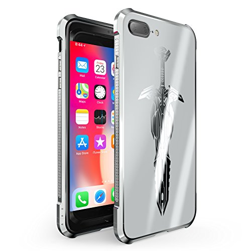 (iPhone 7 Plus Case, iPhone 8 Plus Case, ZHIKE Full Body Metal Frame Protective Ultra Slim Shock Absorption Technology For Apple iPhone 7/8 Plus (Silver))