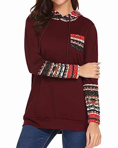 ZJFZML Hoody Sweatshirts For Women, Ladies Formal Clothes Slit V Neck Long Sleeves Cute Designer Retro Tee Shirts and Blouses With Pockets Tunic Hoodie Pullover Top Blouses Red XL (Designer Clothing Retro)