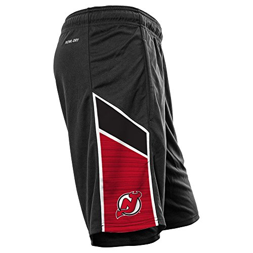 Levelwear LEY9R NHL New Jersey Devils Adult Men Swift Icon Heather Athletic Shorts, Medium, Black/White (Shorts Black Nhl)