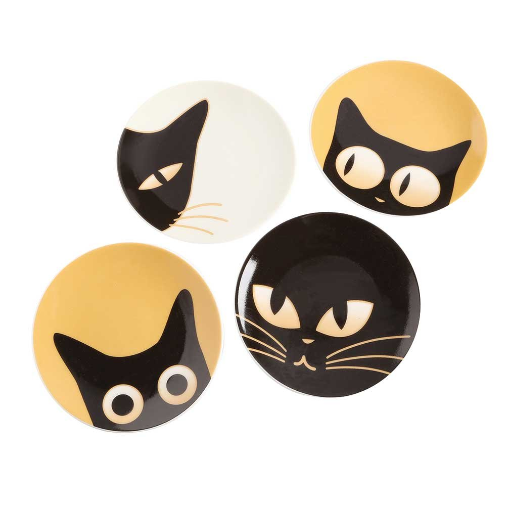 """Cat Eyes Small 3.5"""" Plate Set of 4 Assorted"""