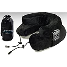 Cabeau Air Evolution Travel Neck Pillow with Bag, Midnight Black