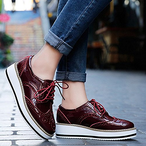 Zhihong Casual Oxfords Chaussures Plate-forme Chaussures À Lacets Bout-bout Carré Toe Bullock Mocassins Rouge