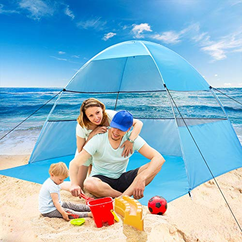 Beach Tent Sun Shelter Pop Up Tents for Family Plus Canopy Automatic UV Protection Cabana Portable and Lightweight Shade Easy Setup and Down with Carry Bag for Outdoor Suit for - Up Shelter Pop Beach