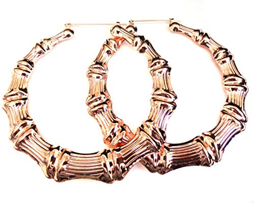 Large Rose Gold Hoop Earrings Plated Bamboo Hoop Earrings 4 inch - Gold Hoops Inch 4