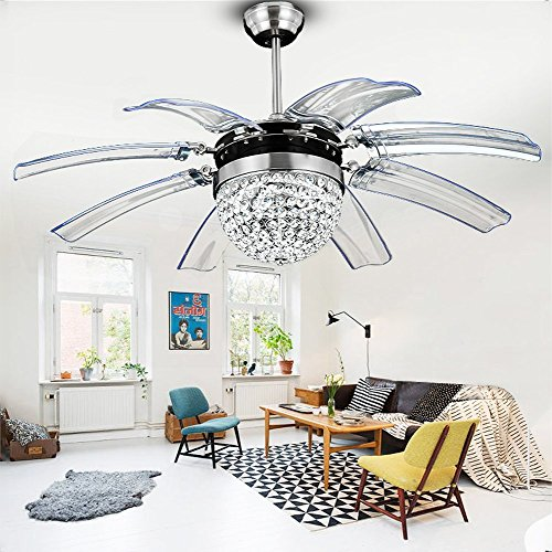 Modern Fan Accessories - Tropicalfan Crystal Retractable Ceiling Fan With Remote Control LED Home Decoration Dinner Room Bedroom Silent Modern Fans Chandelier 8 Acrylic Invisible Blades 42 Inch