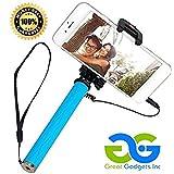 PicStik Foldable Mini Selfie Stick [Battery Free] Wired GOPRO Camera Mount & IPHONE 5, 6+ Smartphone Self Portrait Monopod