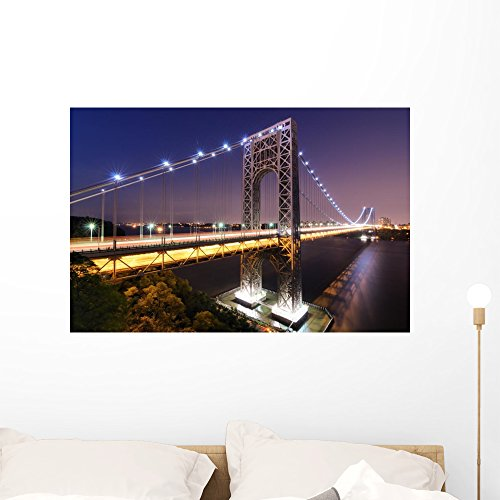 Wallmonkeys George Washington Bridge Spans Wall Mural Peel and Stick Graphic (36 in W x 24 in H) WM360514