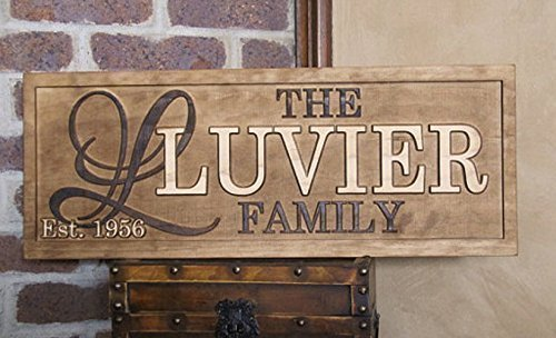 Personalized Family Name Initial Signs CARVED Custom Wooden Sign Last name Wedding Gift Established Anniversary custom personalized sign