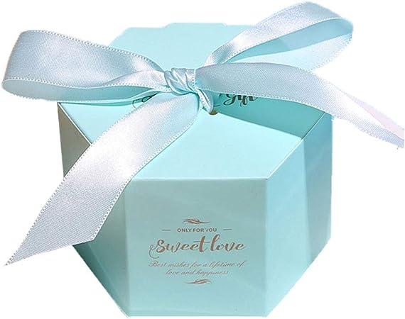 Zedo Cajitas para regalos Cajitas regalo boda Caja de boda Caja de caramelos cajas de carton cajas de carton para regalo Caja de Dulces Para fiesta de boda 7*7*5.5cm,10PC,estrella hexagonal,Azul claro: Amazon.es:
