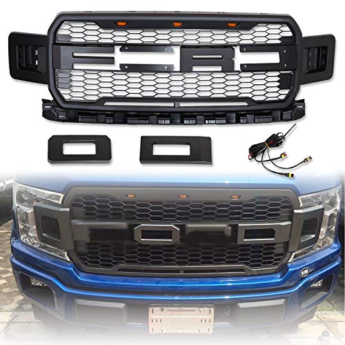Front Grille Fits FORD F150 2018 2019 ABS Mattle Raptor Style Honeycomb Grille with Conversion Letter 2018 Ford F150 Grill 2019 F150 Grille Raptor(Black)
