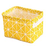 Small Foldable Storage Basket waterproof Oxford Storage Bins for Toy Storage(Yellow,7.9x5.5x6.3In)